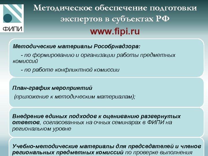 Методическое обеспечение подготовки экспертов в субъектах РФ www. fipi. ru Методические материалы Рособрнадзора: -