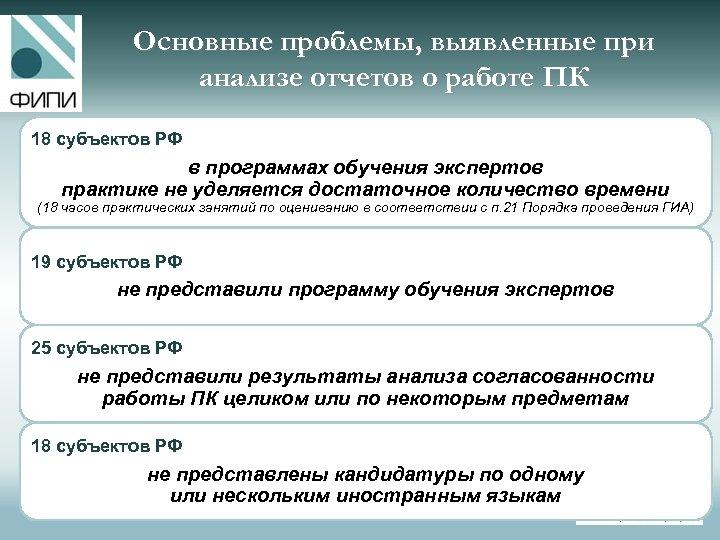 Основные проблемы, выявленные при анализе отчетов о работе ПК 18 субъектов РФ в программах