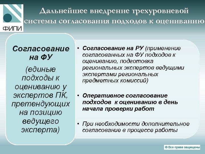 Дальнейшее внедрение трехуровневой системы согласования подходов к оцениванию Согласование на ФУ (единые подходы к
