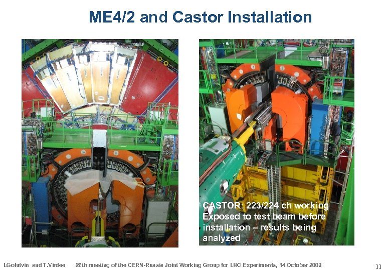 ME 4/2 and Castor Installation CASTOR: 223/224 ch working Exposed to test beam before