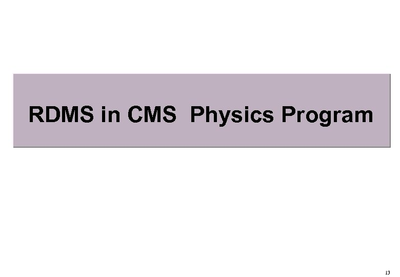 RDMS in CMS Physics Program 13