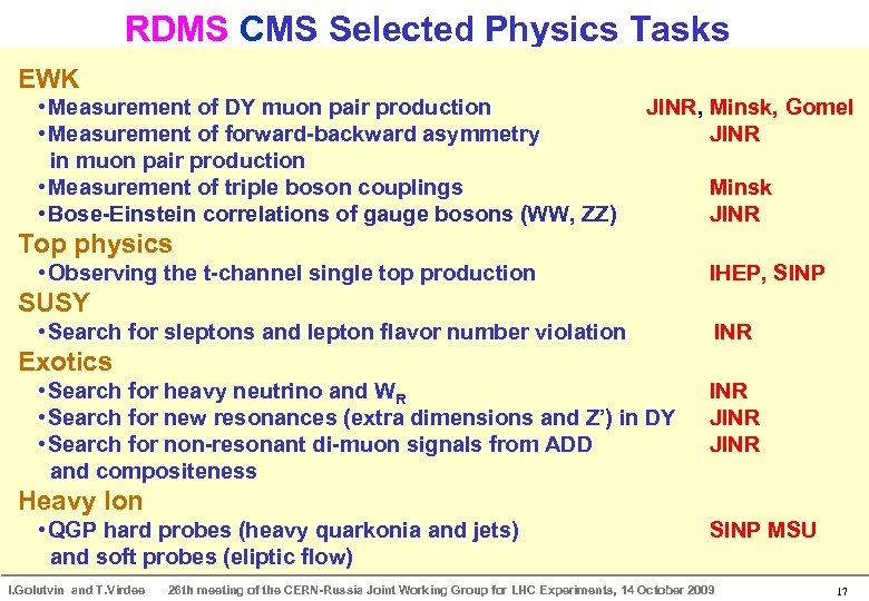 RDMS CMS Selected Physics Tasks EWK • Measurement of DY muon pair production •