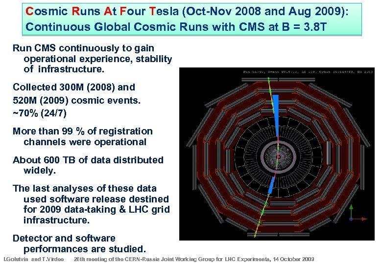 Cosmic Runs At Four Tesla (Oct-Nov 2008 and Aug 2009): Continuous Global Cosmic Runs