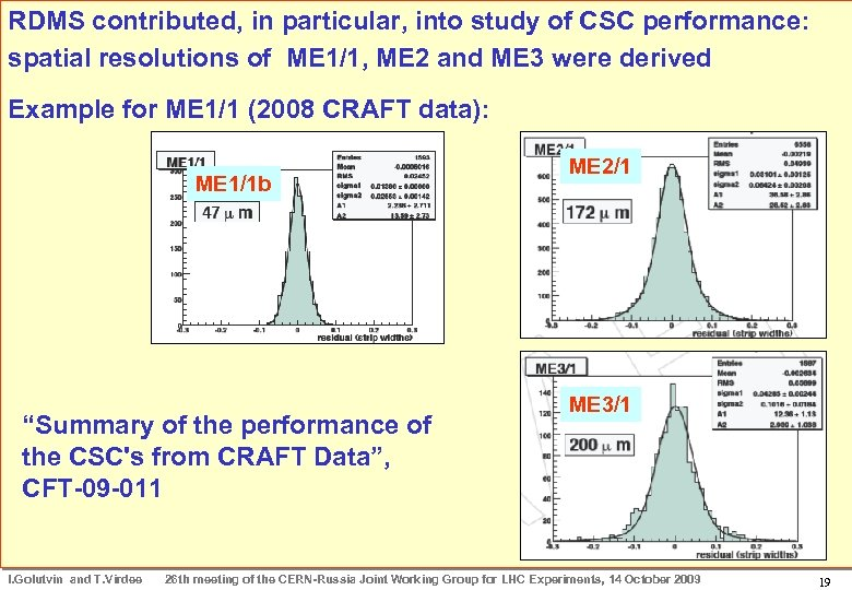 RDMS contributed, in particular, into study of CSC performance: CRAFT Results: ME 2 and