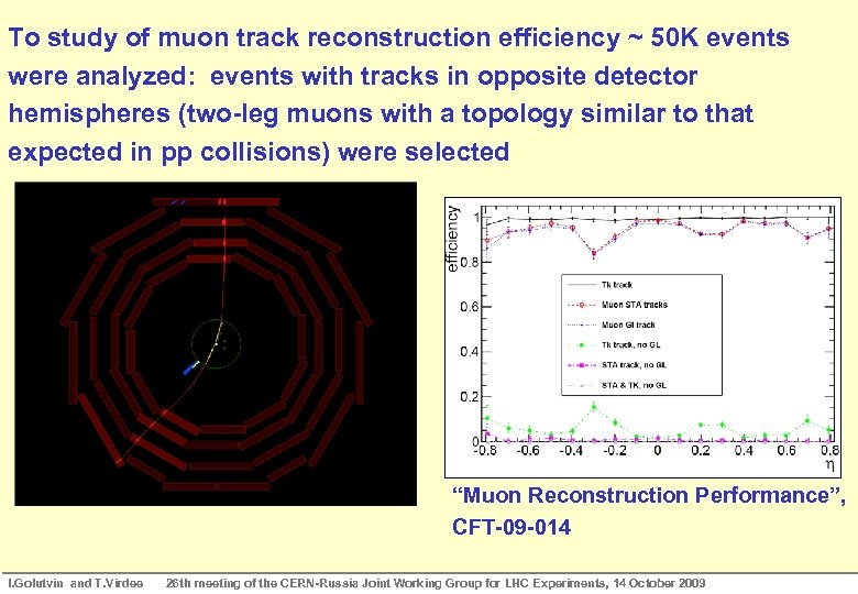 To study of muon track reconstruction Track Efficiency CRAFT Results: Muon efficiency ~ 50
