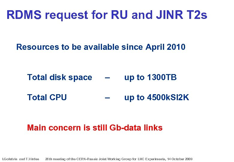 RDMS request for RU and JINR T 2 s Resources to be available since