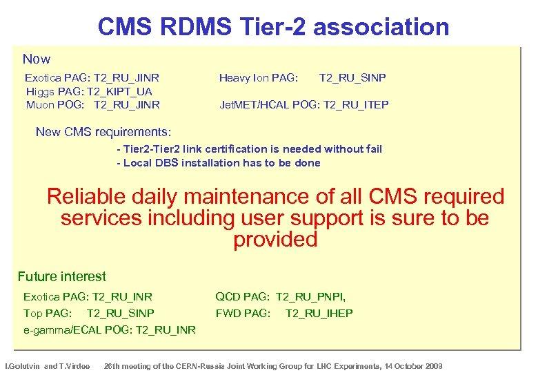 CMS RDMS Tier-2 association Now Exotica PAG: T 2_RU_JINR Higgs PAG: T 2_KIPT_UA Muon