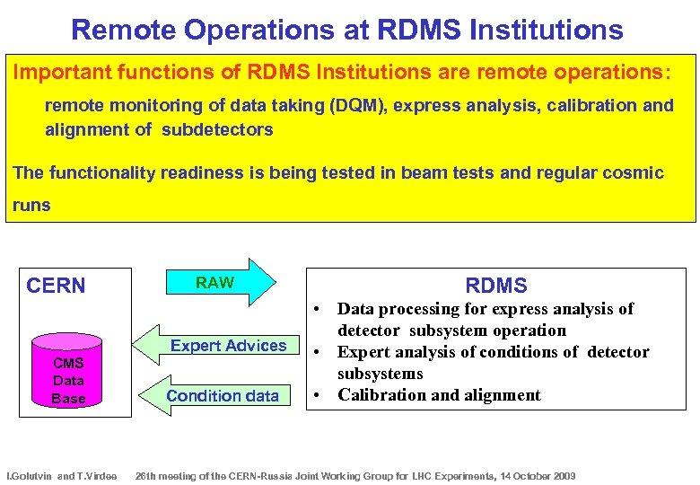 Remote Operations at RDMS Institutions Important functions of RDMS Institutions are remote operations: remote