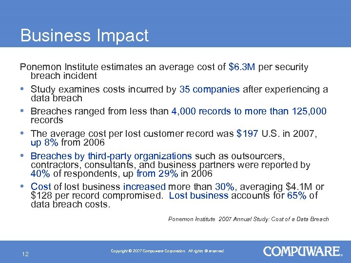 Business Impact Ponemon Institute estimates an average cost of $6. 3 M per security