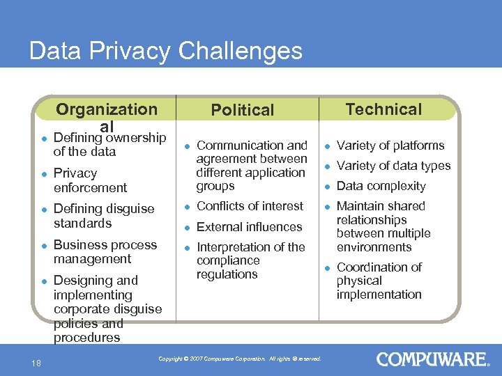 Data Privacy Challenges l l l 18 Organization al Technical Political Defining ownership of
