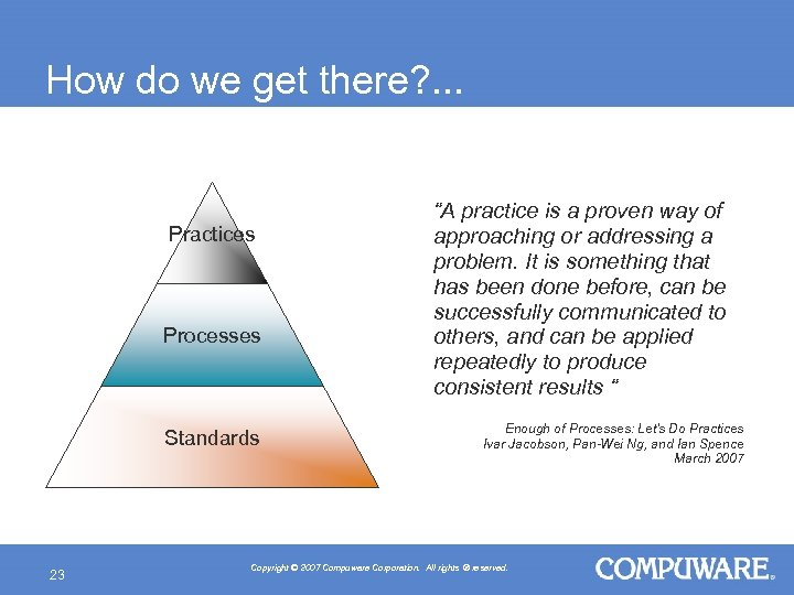 "How do we get there? . . . Practices Processes Standards 23 ""A practice"