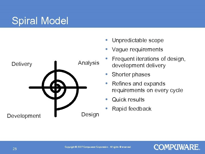 Spiral Model Delivery Analysis • Unpredictable scope • Vague requirements • Frequent iterations of