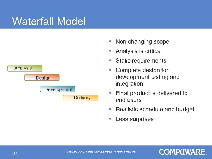 Waterfall Model • • Analysis Design Development Delivery Non changing scope Analysis is critical