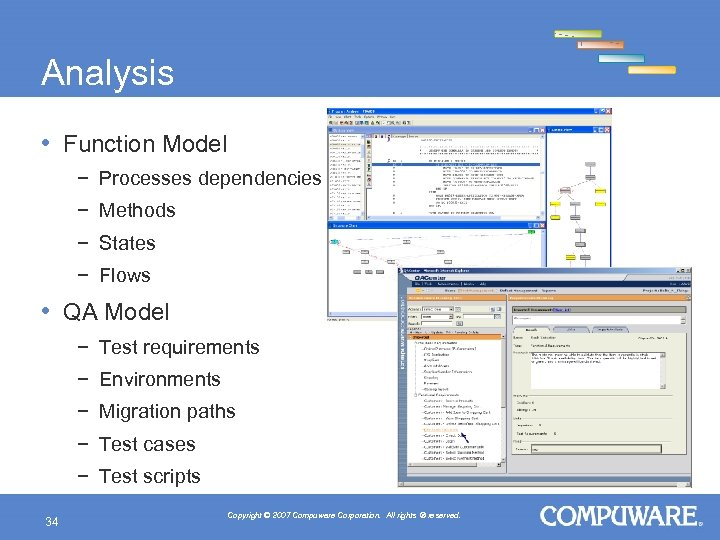 Analysis • Function Model − Processes dependencies − Methods − States − Flows •