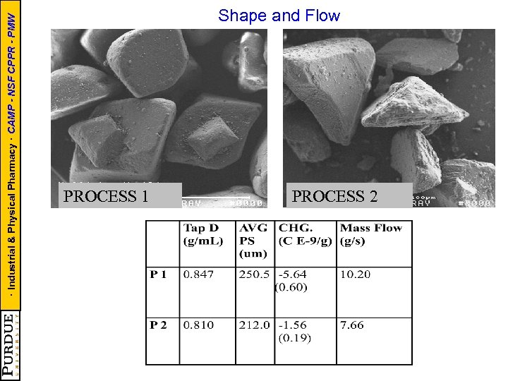 · Industrial & Physical Pharmacy · CAMP - NSF CPPR - PMW Shape and