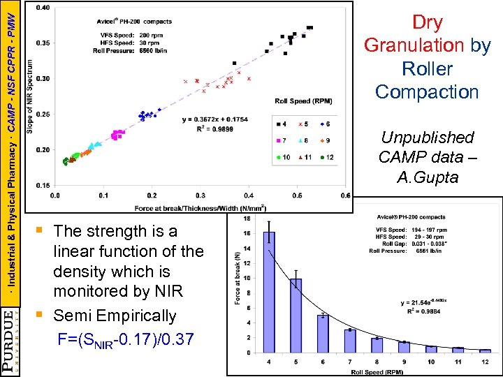 · Industrial & Physical Pharmacy · CAMP - NSF CPPR - PMW Dry Granulation