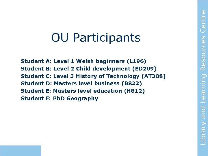 Student Student A: Level 1 Welsh beginners (L 196) B: Level 2 Child development