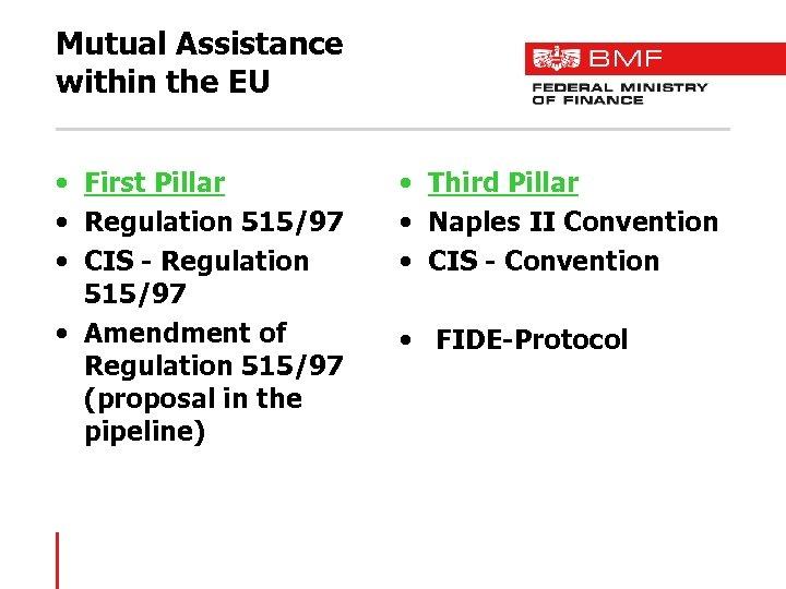 Mutual Assistance within the EU • First Pillar • Regulation 515/97 • CIS -