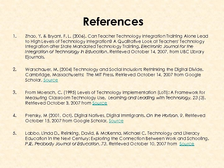 References 1. Zhao, Y. & Bryant, F. L. (2006). Can Teacher Technology Integration Training