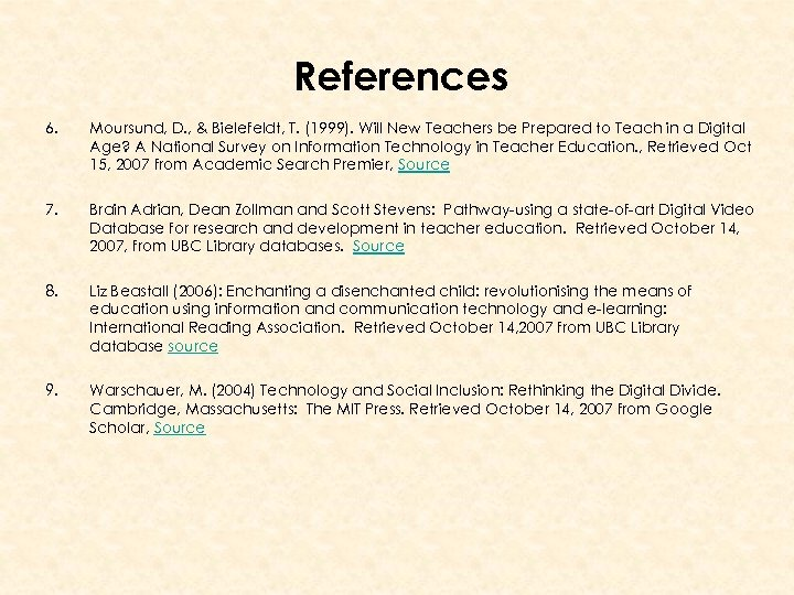 References 6. Moursund, D. , & Bielefeldt, T. (1999). Will New Teachers be Prepared