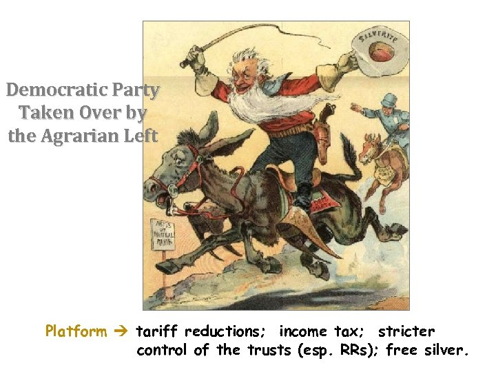 Democratic Party Taken Over by the Agrarian Left Platform tariff reductions; income tax; stricter