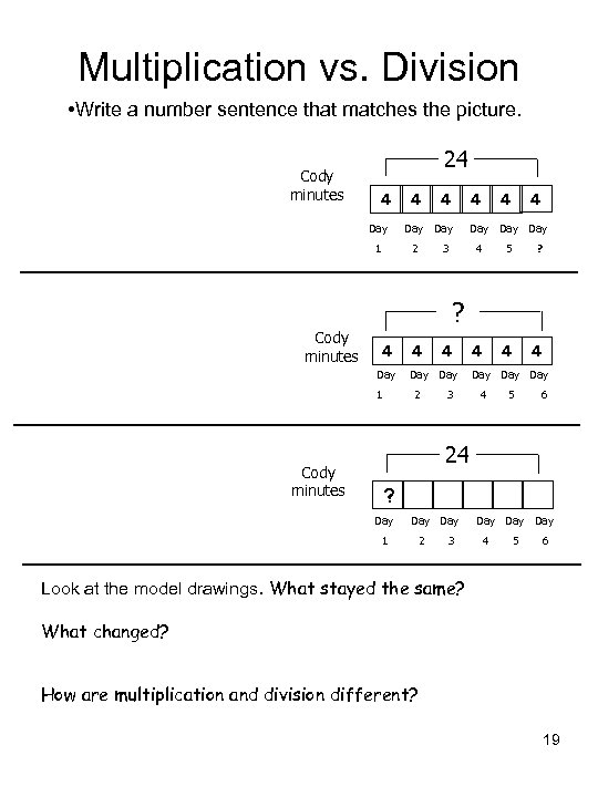 Multiplication vs. Division • Write a number sentence that matches the picture. 24 Cody