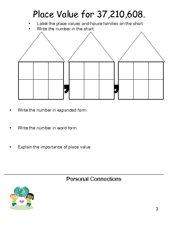 Place Value for 37, 210, 608. • • Label the place values and house