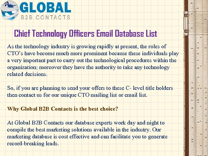 Chief Technology Officers Email Database List As the technology industry is growing rapidly at