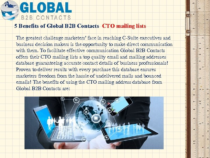 5 Benefits of Global B 2 B Contacts CTO mailing lists The greatest challenge