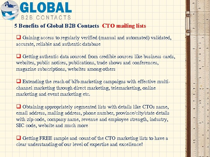 5 Benefits of Global B 2 B Contacts CTO mailing lists q Gaining access
