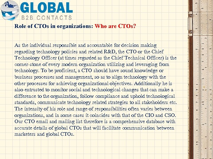 Role of CTOs in organizations: Who are CTOs? As the individual responsible and accountable