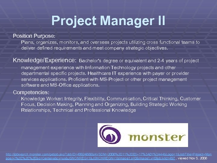 Project Manager II Position Purpose: Plans, organizes, monitors, and oversees projects utilizing cross functional
