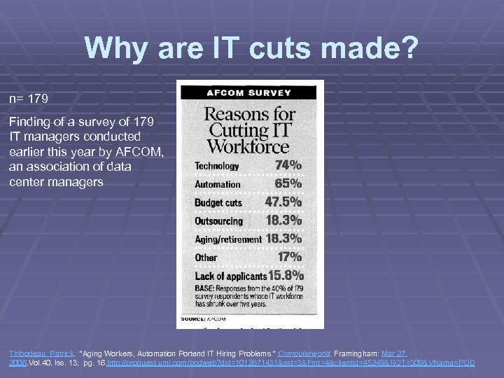Why are IT cuts made? n= 179 Finding of a survey of 179 IT