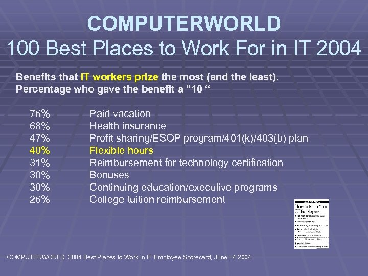COMPUTERWORLD 100 Best Places to Work For in IT 2004 Benefits that IT workers