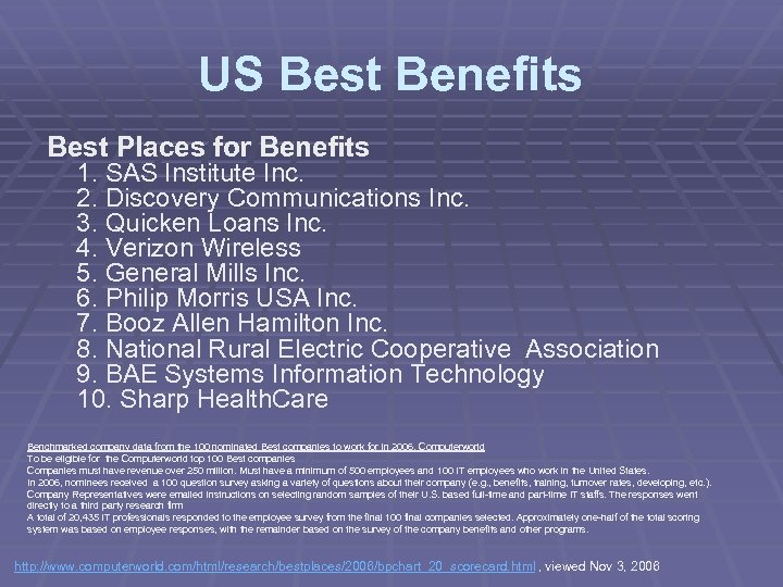 US Best Benefits Best Places for Benefits 1. SAS Institute Inc. 2. Discovery Communications
