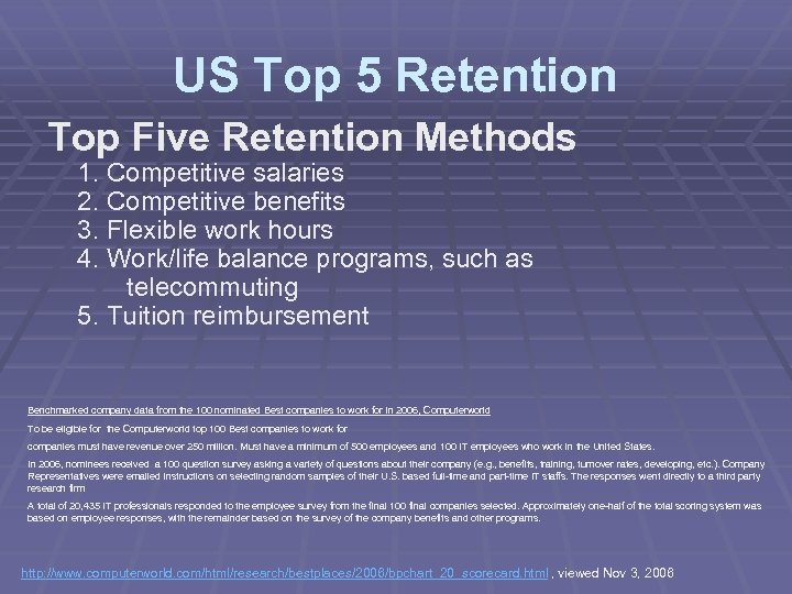 US Top 5 Retention Top Five Retention Methods 1. Competitive salaries 2. Competitive benefits