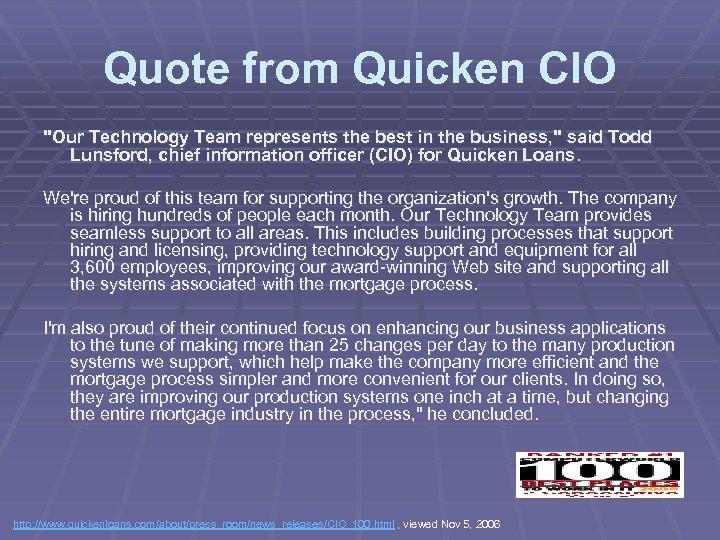 Quote from Quicken CIO