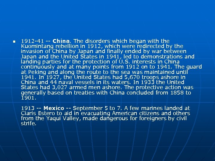 n 1912 -41 -- China. The disorders which began with the Kuomintang rebellion in