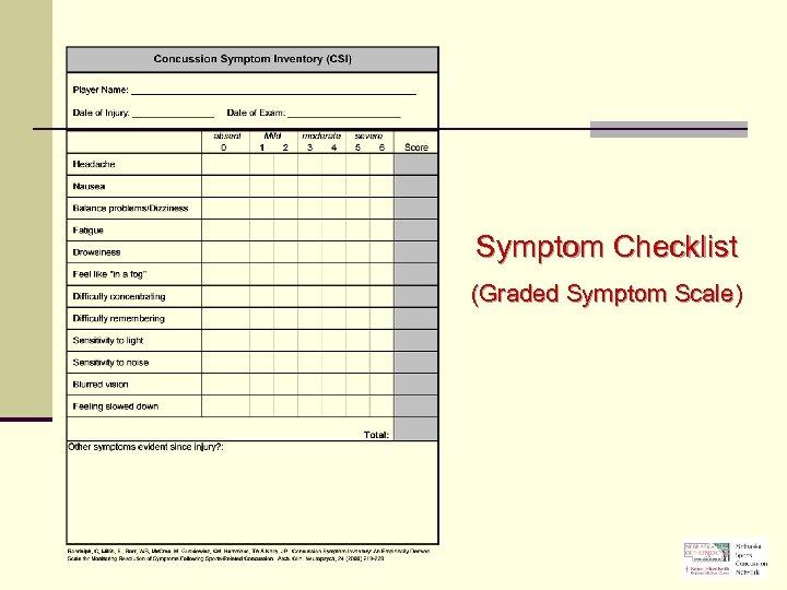 Symptom Checklist (Graded Symptom Scale)