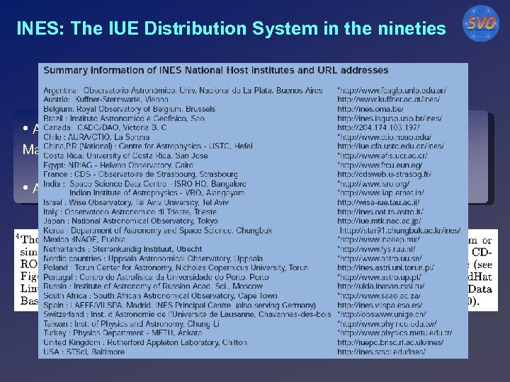 INES: The IUE Distribution System in the nineties • A Principal Centre (LAEX) and