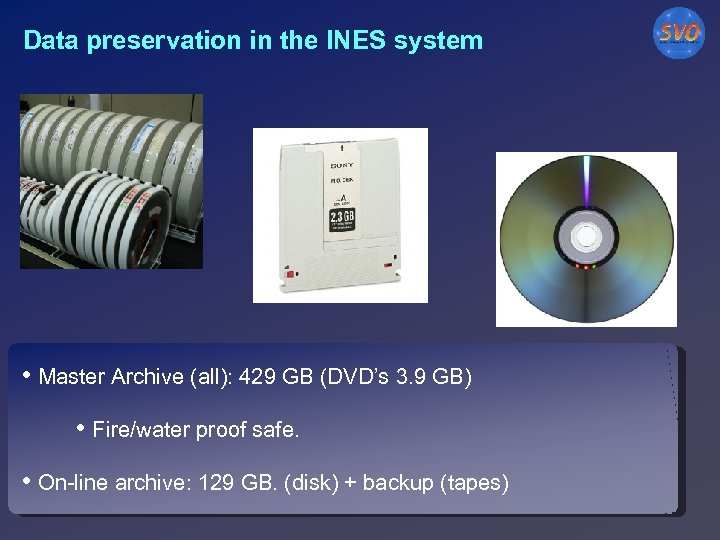 Data preservation in the INES system • Master Archive (all): 429 GB (DVD's 3.