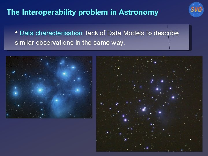 The Interoperability problem in Astronomy • Data characterisation: lack of Data Models to describe