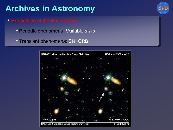 Archives in Astronomy • Exploitation of the time domain: • Periodic phenomena: Variable stars