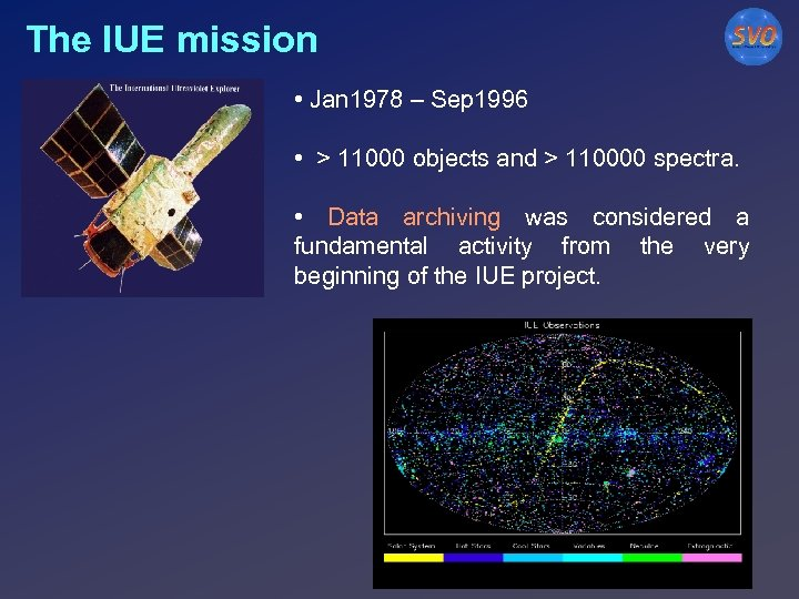 The IUE mission • Jan 1978 – Sep 1996 • > 11000 objects and
