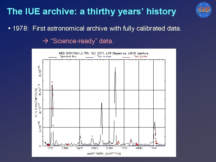 The IUE archive: a thirthy years' history • 1978: First astronomical archive with fully