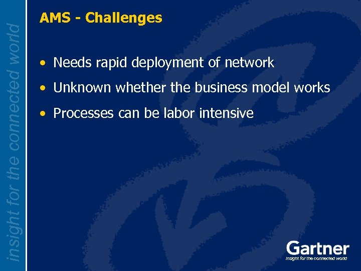 insight for the connected world AMS - Challenges • Needs rapid deployment of network
