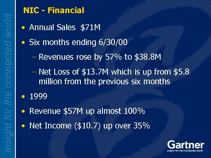 insight for the connected world NIC - Financial • Annual Sales $71 M •