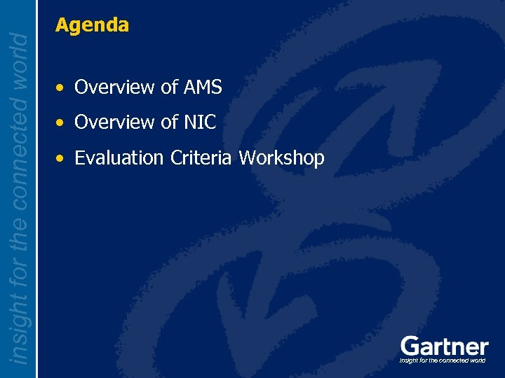 insight for the connected world Agenda • Overview of AMS • Overview of NIC
