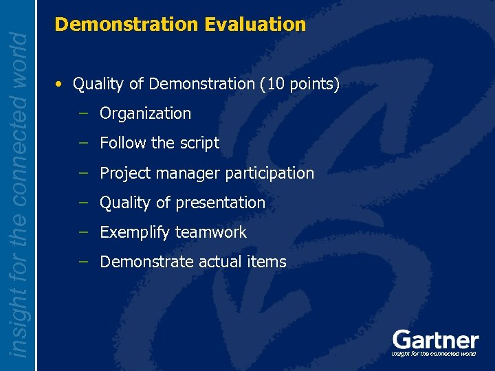 insight for the connected world Demonstration Evaluation • Quality of Demonstration (10 points) –