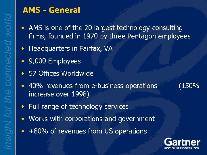 insight for the connected world AMS - General • AMS is one of the